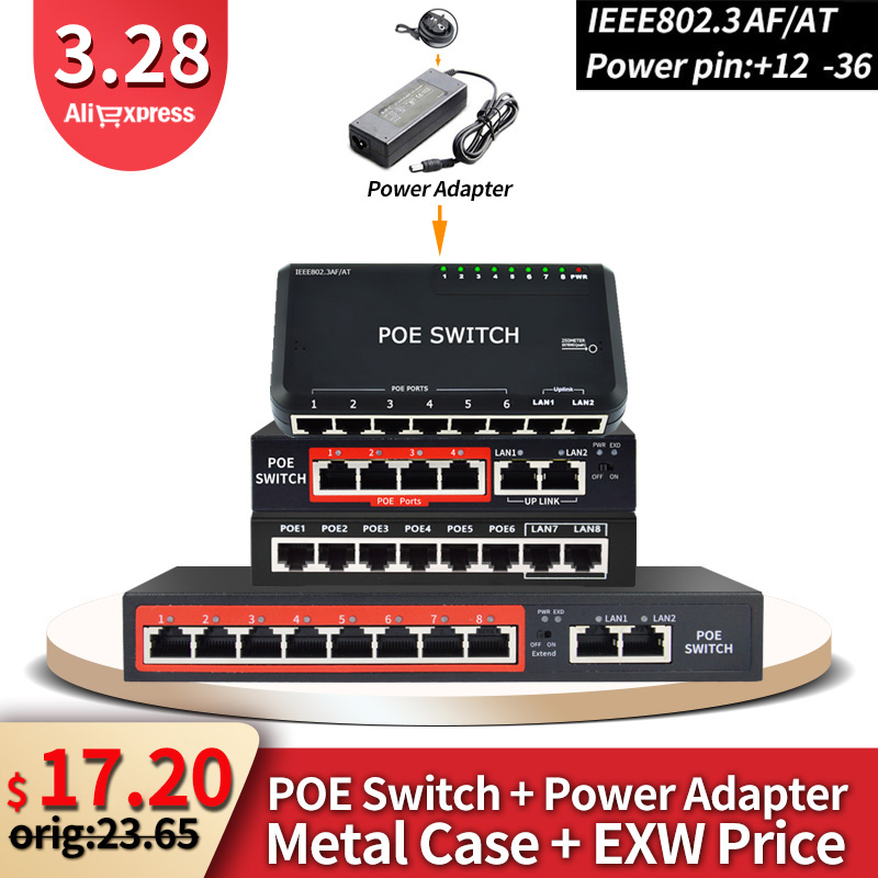 48V POE switch with standardized RJ45 port IEEE 802.3 af/at 4port /8port Network switch Ethernet with 10/100Mbps for POE cameras|Network Switches| |  - title=