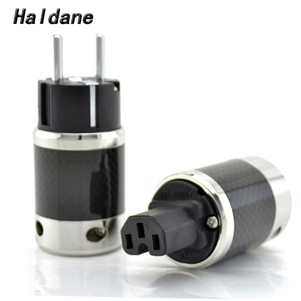 Paire Haldane HIFI en Fiber de carbone plaqué Rhodium électrique IEC femelle connecteur ue EUR Schuko prise de courant câble d'alimentation ca
