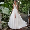 2021 Summer Boho Tulle Wedding Dress Elegant V-Neck Sleeveless Lace Sweep Train A Line Bridal Gowns with Slit