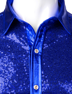 Image 3 - Luxury Royal Blue Sequin Metallic Dress Shirts Men 2019 New Long Sleeve 70s Disco Party Shirt Male Christmas Halloween Costume