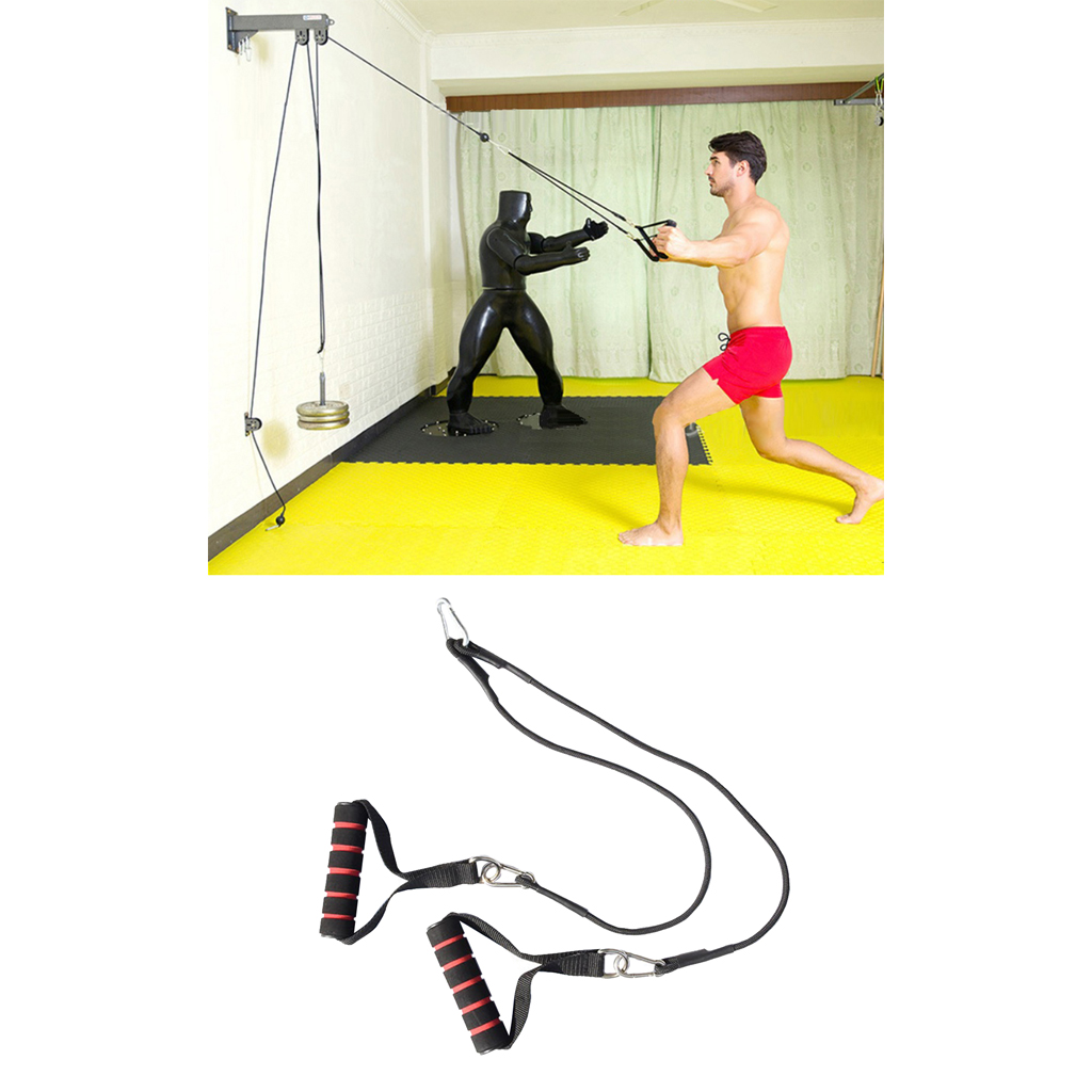 Solid Pulley Cable Machine System- Pull Handle Chest Training Strap Rope Hooks Fitness Lifting Steel Wire Cable DIY Loading Pin