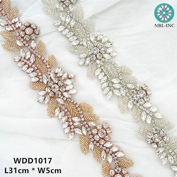 Beaded Rhinestone Applique Crystal Diamante Trim Sew on Bridal Wedding Dress 1pc