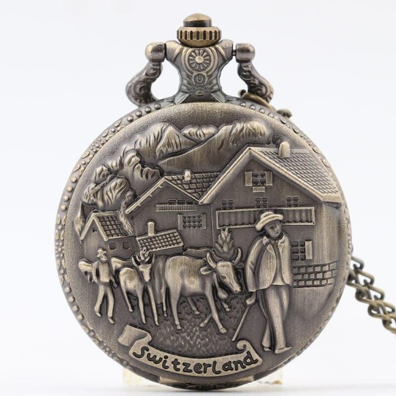 Pocket & Fob Watch Bronze Switzerland Cow Farmer Quartz Pocket Watch NecklacePendant Watch Chain Xmas Gift Relogio De Bolso