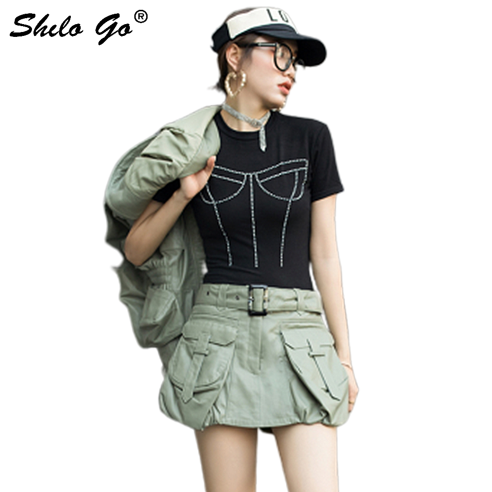 Genuine Leather Shorts Army Green High Waist Buckle Belted Front Big Pocket Shorts Skirts Women Autumn Casual Solid Mini Shorts