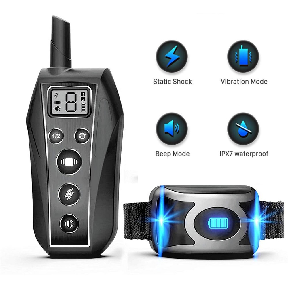 IPX7 Waterproof Rechargeable Remote font b Pet b font Dog Training Collar Beep Vibration Shock E
