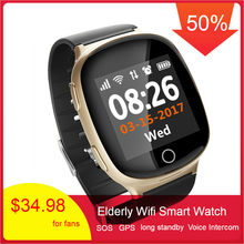 696 D100 Elderly Smart Watch GPS Heart Rate Tracking Watch Pedometer Sleep Monitor Voice Intercom SOS Fall-down Wifi Smart Watch(China)