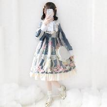 Japanese Lolita Dress for Teen Girl Kawaii Cartoon Print Ruffled Baby Doll Dresses Gothic Cute Lace Loli Cos Princess Costume
