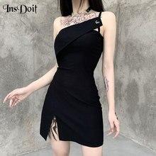 InsDoit Streetwear Punk Sexy noir Mini robe gothique Harajuku sans manches taille haute robe fendue femme fête Club tenues robe