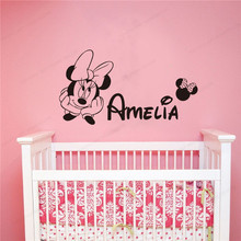 personalized custom name wall decal minnie  wall sticker vinyl girls room  wall decor removable art mural JH186 personalized vinyl wall stickers boys room wall decor kids custom name bedroom wall decal removable wall art mural jh226