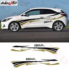 Listras do esporte gráficos decoração decalques auto ambos lado porta decoração adesivos de vinil corpo decalque adesivo para hyundai i20 estilo do carro