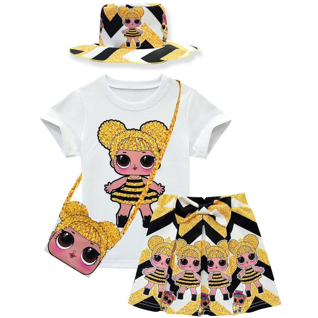 New Doll Children's Suit Girls Short-sleeved Skirt Bag Fisherman Hat 4 Sets