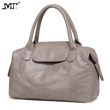 MJ Women Handbag Genuine Leather Female Solid Real Cow Leather Shoulder Bag Large Capacity Crossbody Bags for Women Ladies Tote