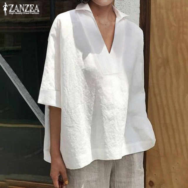 Women's Summer Blouse Tops 2019 ZANZEA Elegant 3/4 Sleeve Shirts Female Solid Blusa Kaftan V neck Casual Chemise Plus Size Tunic 1