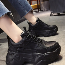 Women Platform Sneakers Leather Casual Ladies Chunky Shoes 2020 White Woman High Black Fashion Brand Thick soled Wedge Sneakers