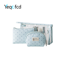 Yeqofcd 3 in 1 Transparent Cosmetic Case Portable Travel Toiletry Bags Clear PVC Makeup Bag Luggage Pouch Organizer For Women