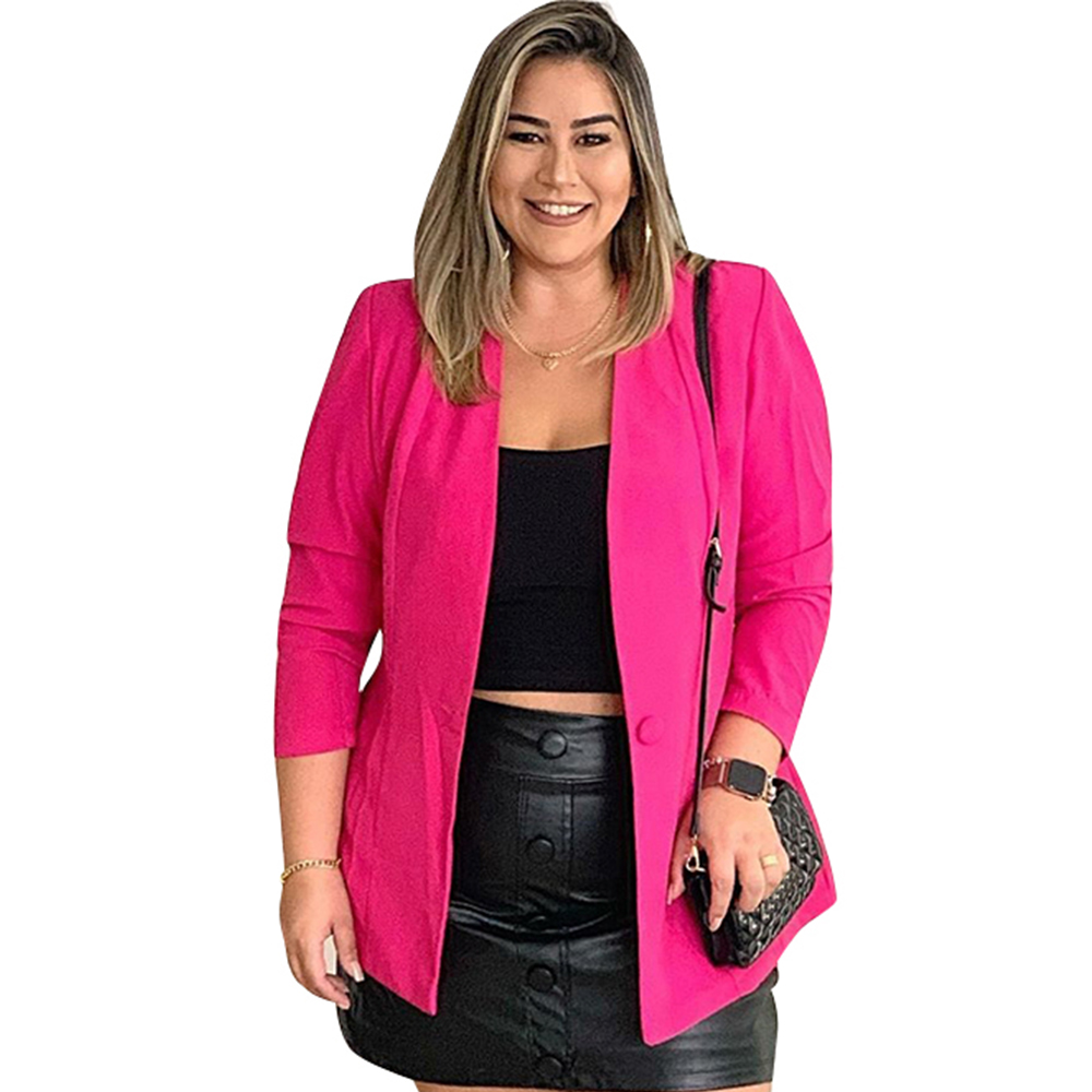 5XL Blazer Women Solid Color Cardigan Jacket Plus Size Bleizer Mujer 2019 Fashion OL Blazer Femme Business Blaser Feminino D30