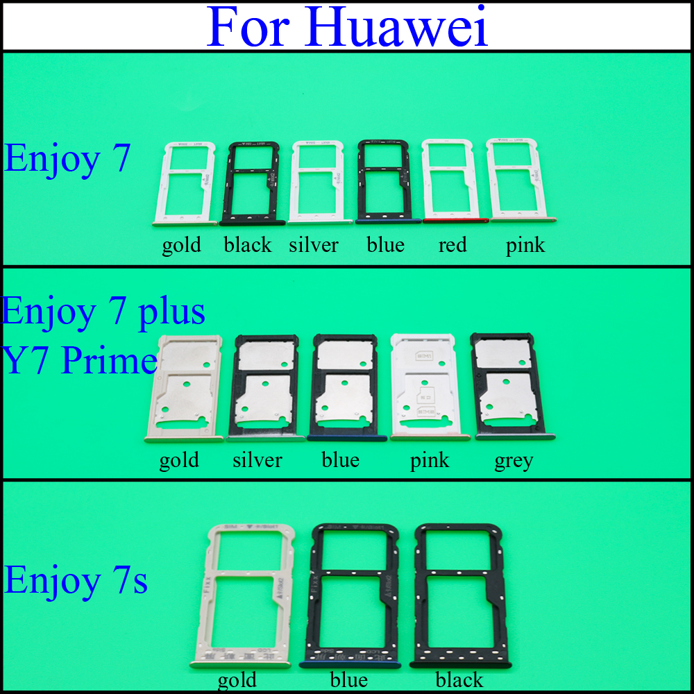 For Huawei Enjoy 7 7Plus Y7 Prime 7S FIG-LX1 SIM Card Tray & SIM / Micro SD Card Tray Holder Slot Tray Replacement Parts Repair