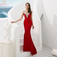 Red Mermaid Evening Dresses 2019 Cap Sleeves Luxury Beaded Crystal Prom Gowns For Women Formal Satin Party Dress robe de soiree african red prom dresses long sleeves gold appliques feathers satin formal mermaid evening dress 2019 black women robe de soiree