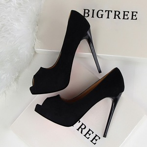 12 CM PUMPS Stiletto super high heel waterproof platform shallow mouth suede sexy nightclub fish mouth shoes high heels
