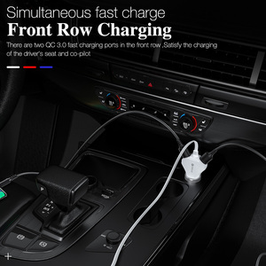 Image 3 - 4 Port Quick Charge QC 3.0 USB 3.1 Fast Charger Cable Back Clip Mobile Phone Car Charger Adapter For iPhone Samsung Xiaomi LG
