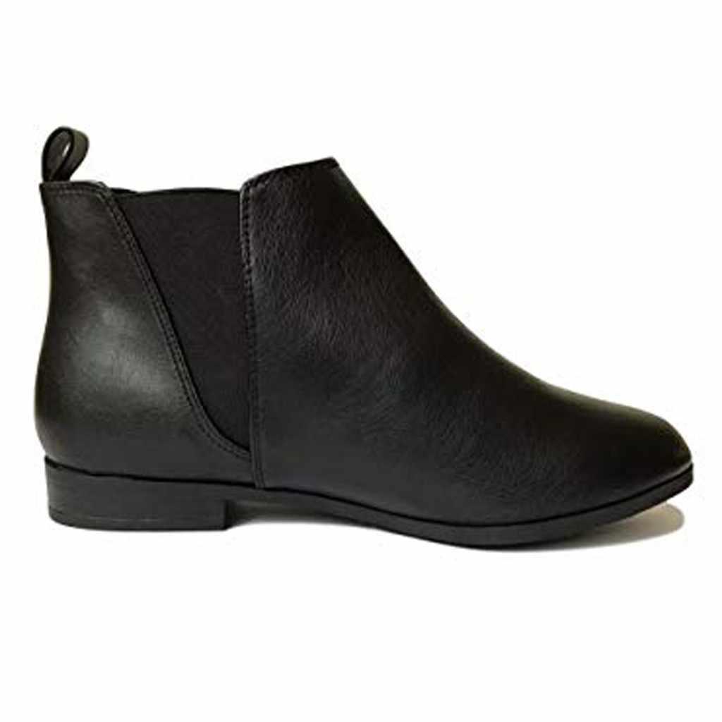Ayakkabı Düz Topuk Yuvarlak Ayak Bayan yarım çizmeler Elastik Tab Yumuşak Rahat Düşük Blok Düz Topuk Yuvarlak Ayak iş ayakkabısı