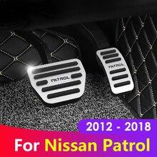 Capa para pedal de freio acelerador, capa de alumínio antiderrapante de pedal de freio para nissan patrol y62 2012 2015 2016 2017 2018 acessórios