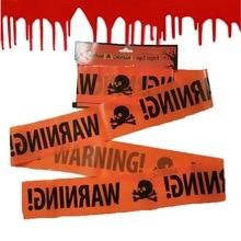 Accesorios de Halloween ventana Prop línea de advertencia plástico cráneo cabeza esqueleto advertencia cinta señales Halloween decoración fiesta decoración tira