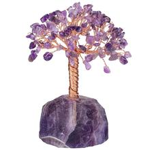 TUMBEELLUWA Healing Crystal Tumbled Stones Money Tree with Natural Gemstone Base Fengshui Ornament Lucky Home Decor 5''-6''