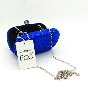 Image 4 - Boutique De FGG królewskie niebieskie cyrkonie sprzęgła damskie torby wieczorowe torebka ślubna wesele kryształowa torebka łańcuszkowa torba na ramię