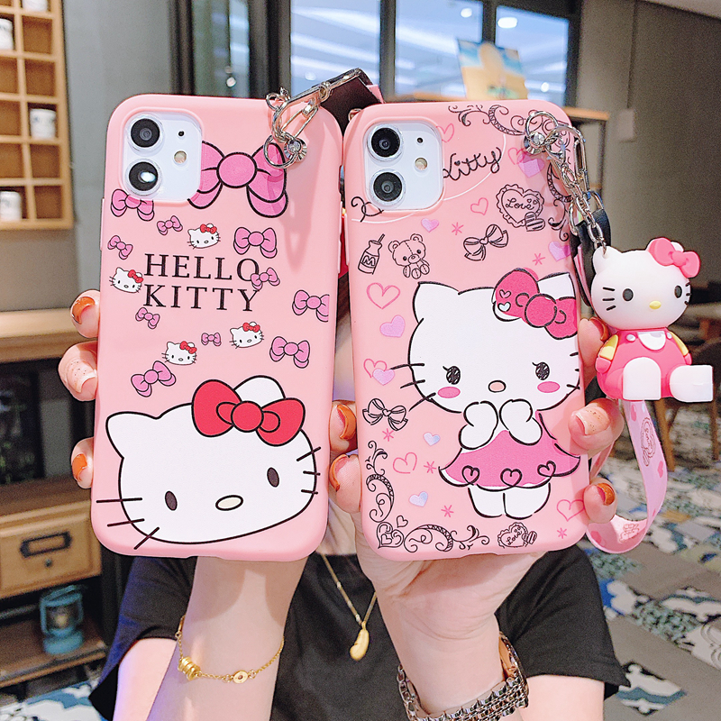 Cute Cartoon Hello Kitty Animals Silicone Case With Bracket Neck Rope For iPhone 11 Pro Max X XS Max XR 8 7 6 6S Plus SE2 cases