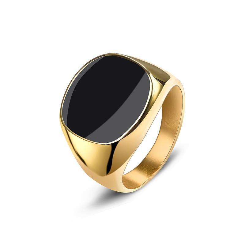 Jiayiqi Stainless Steel Ring Gold Flat
