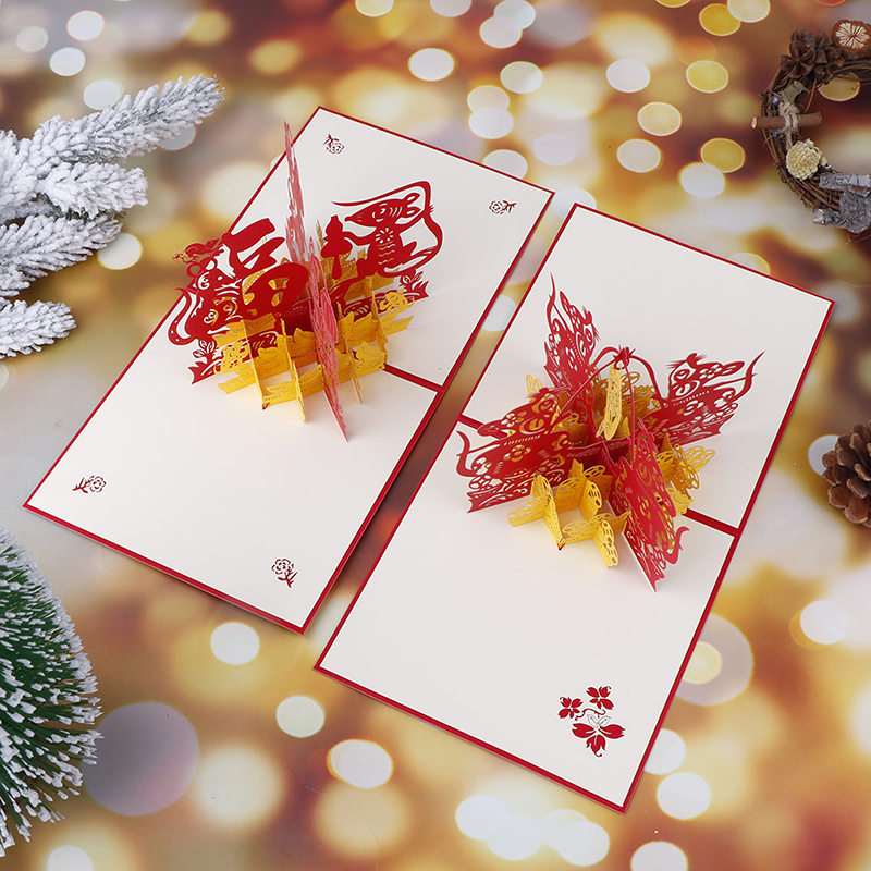 3D Handmade <font><b>2020</b></font> Chinese Zodiac Mouse Fu Spring Festival Paper Greeting <font><b>Cards</b></font> <font><b>Happy</b></font> <font><b>New</b></font> <font><b>Year</b></font> Blessing Business Kids Friend Gift image