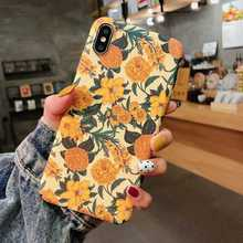 French Oil Painting Flower Case For iPhone XS Max XR X 7 8 6 6S Plus Luminous Hard PC Floral Pattern