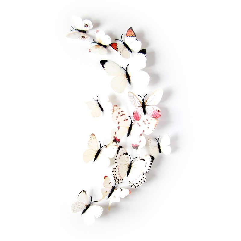 12 ピース/ロット pvc 人工カラフルな蝶装飾ステークス風スピナー庭の装飾シミュレーション蝶