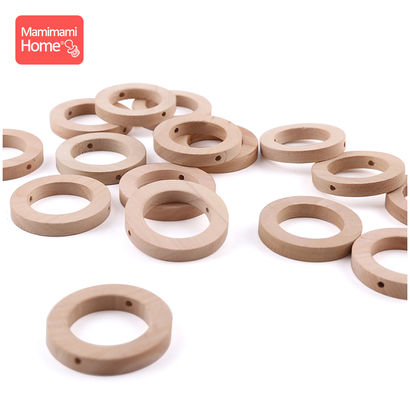 10PCS 25*8MM Wood Teether DIY Crafts For Baby Nursing Bracelets Necklace Wooden Rings Children'S Goods Teething Wooden Blank Toy