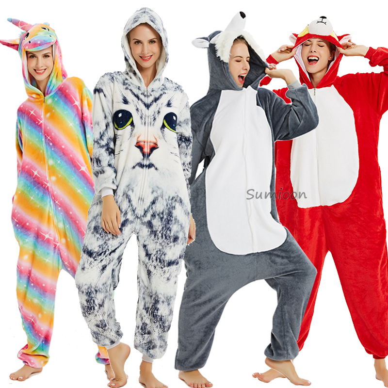 Kigurumi Unicorn Pajamas Winter Animal Wolf Panda Onesie Adults Sleepwear For Women Men Adult Pijama Girl Boy Jumpsuit Overalls