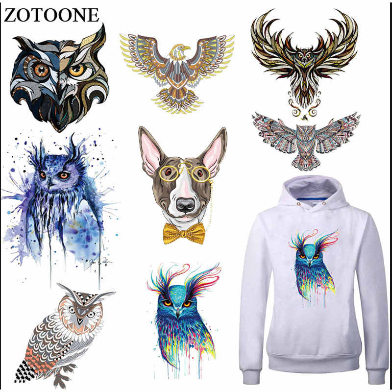 ZOTOONE moda 3D búho ropa Parches pegatinas para Tops hogar hierro-on Animal Parches DIY Transferencia de Calor apliques de decoración