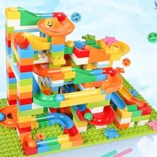лучшая цена 183PCS DIY Construction Marble Race Run Maze Balls Track Children Gaming Building Blocks Toys Compatible Chrimas Gift