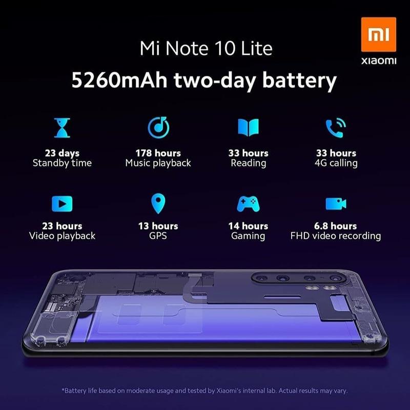 Globale Versione Xiaomi Mi Nota 10 Lite 6GB 64GB Snapdragon 730G NFC G-pay 64MP Quad telefoni 5260mAh Mobile della macchina fotografica 30W smartphone 4