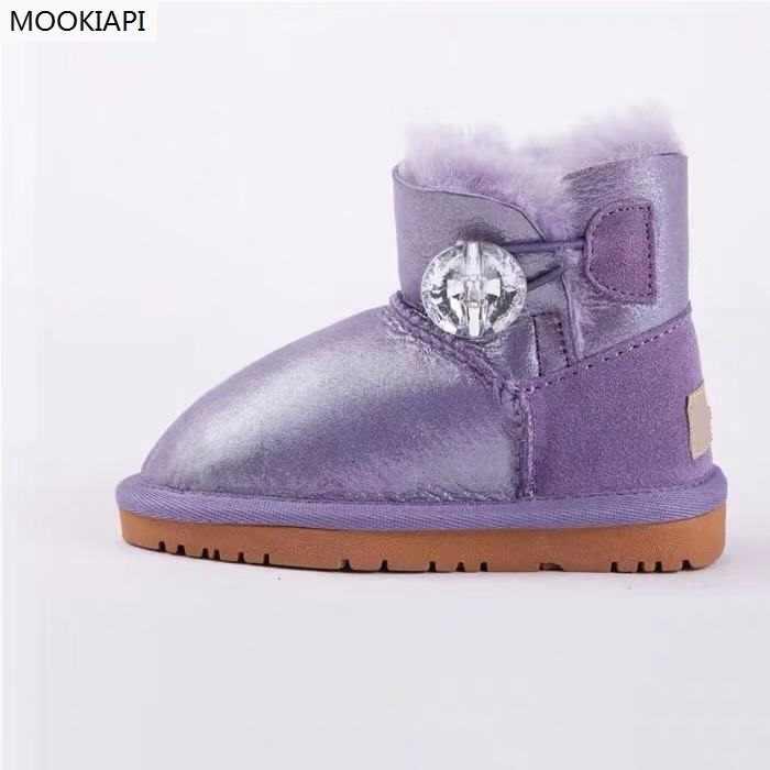 В 2019 году, новые австралийские теплые ботинки из овечьей и шерстяной кожи Нескользящая зимняя обувь для малышей Бесплатная доставка 6 цветов