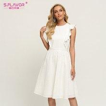 Flavor feminino branco oco para fora vestido de algodão 2021 verão babados sem mangas a linha vestido de praia estilo feminino casual midi sundress