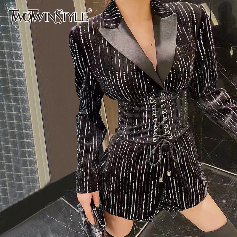 TWOTWINSTYLE Striped Tunic Bandage Women's Blazers Notched Collar Long Sleeve High Waist Suits Female Fashion 2020 Clothing Tide