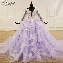 Peorchid 우아한 2020 라벤더 댄스 파티 드레스 긴 소매 tulle ruffles 여성용 레이스 이브닝 가운 robe de bal fille