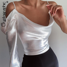 Cryptographic Long Sleeve Straps White Satin Tops Blouses 2020 Fashion Summer Ladies