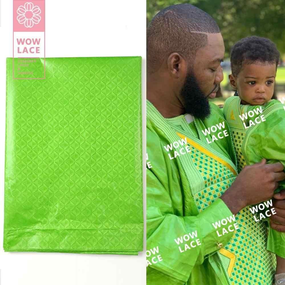 Guinea Jacquard Modello Baizn Riche Brode Tessuti di Pizzo 5 Yards Verde Nigeriano Indiano Donne O Gli Uomini Abiti Da Cucire Materiale Bacino