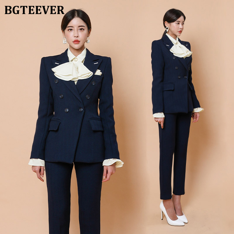 BGTEEVER Winter Woolen Pant Suit Women Double-breasted Slim Blazer & Pencil Pant Women Blazer Suit Set Warm Female Trouser Suit