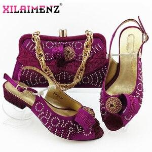Image 3 - Zapatos de tacón cómodos para mujer africana y bolso que combinan con el estilo italiano en Color azul real, zapatos de noche y bolso a juego