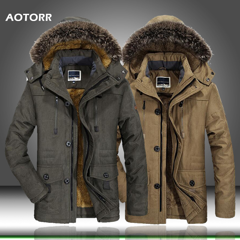 2019 New Winter Jacket Men Thick Casual Men's Fur Collar Windproof Parkas Plus Size 6XL Velvet Warm Coat Men Branded Clothing