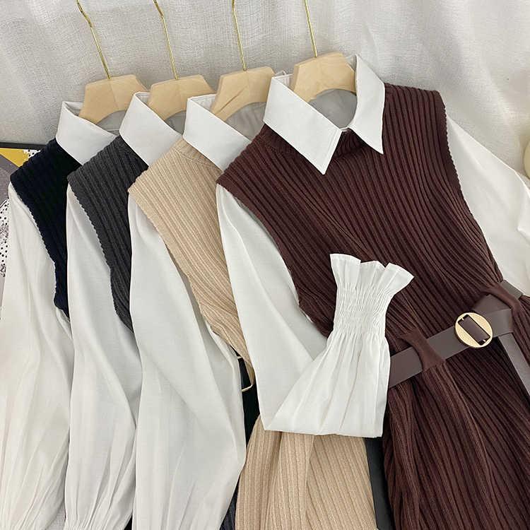 Korean Spring Autumn Women Knitted Pullovers Vest + White Blouse