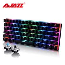 Ajazz AK33 Механическая игровая клавиатура беспроводная/проводной русский/английская раскладка RGB/1 цвет подсветки 82-ключ конфликт